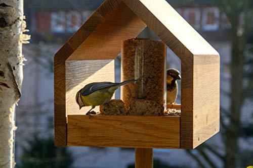 Luxus-Vogelhaus 46601e Eiche-Vogelfutterhaus mit Ständer, Satteldach, Futtertablett und Silo - 10