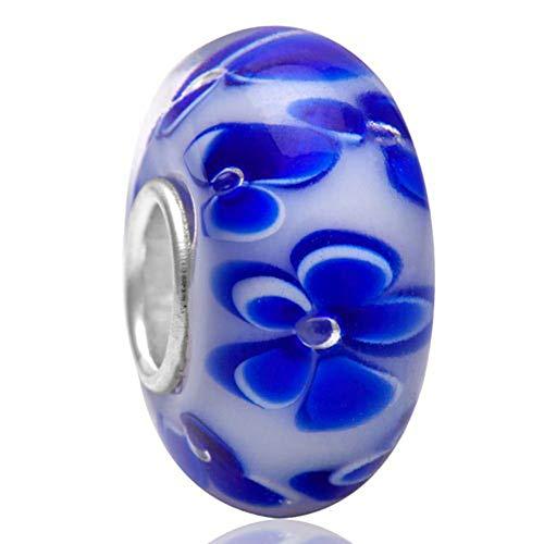 Abalorio de cristal de Murano Lampwork de plata de ley 925 con diseño de flor de la hoja del encanto del aniversario para la pulsera del encanto de Pandora (B)