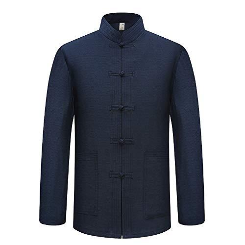 BOZEVON Tang-Anzug Langarm-Shirt für Herren - Volltonfarbe Chinesische Traditionelle Trachten Kung Fu Tai Chi Oberteile, 40/Navy Blau