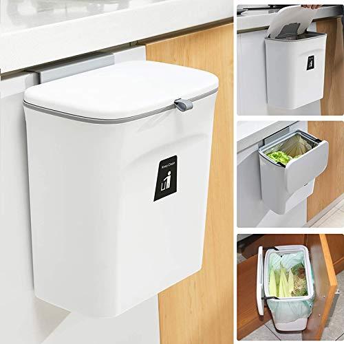 壁掛けゴミ箱 キッチンゴミ箱 ぶら下げごみ箱 9L 取り付け可能な屋内コンポストバケット 食器棚 バスルーム ベッドルーム オフィス トイレ (白)