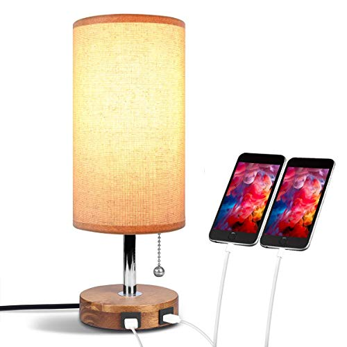 Gymqian USB Tabdesk Lamp, Aooshine Bedside Lamp with Dual USB Quick Charging Port, Minimalist Fabric Desk Lamp,Solid Wood, Round Nightstand Lamp for Bedroom, Living Room,Dinning Tab