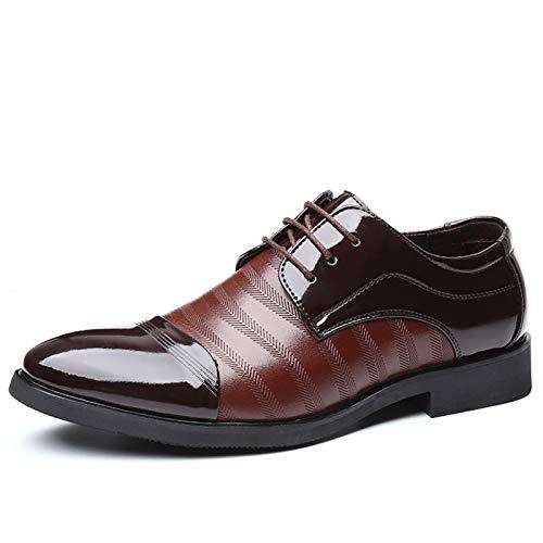 Chaussures habillées pour hommes sur un pied Chaussures pour hommes Oxfords Robe Chaussures Pour Hommes Toile Ronde Couleur Couleur Assortiment Patternwork Tapis de 3-Eye dentelle épaisseur Haul d