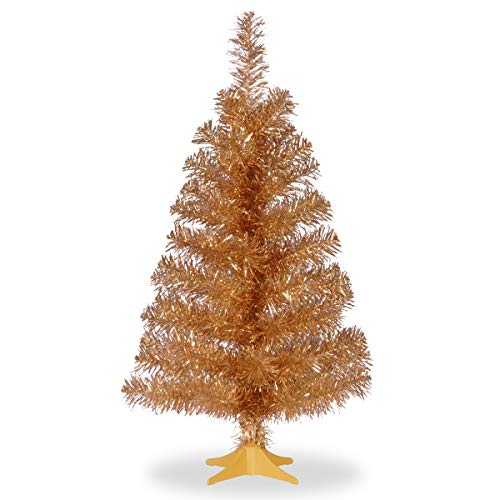 National Tree Company Artificial Christmas Tree | Includes Stand | Champagne Tinsel - 3 ft