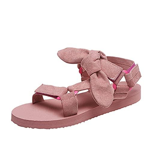 URIBAKY - Sandalias de mujer con suela gruesa, transpirables, zapatos planos con cordones, Rosa (rosa), 42 EU