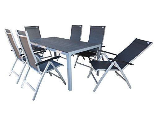 Doppler 7-teilige Aluminium Polywood Textilen Gartenmöbelgruppe Natal XL, 6 mehrfach verstellbare Klappsessel Detroit Plus Silber und EIN Gartentisch Fire XL 180x90 Silber