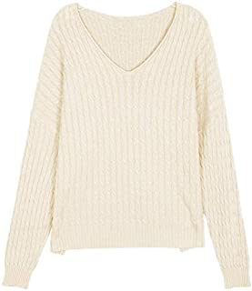 Solid Color Curled V-Neck Cable Knitted Sweater Female Autumn Loose-Fitting Casual Sweater (Color : Beige, Size : M)