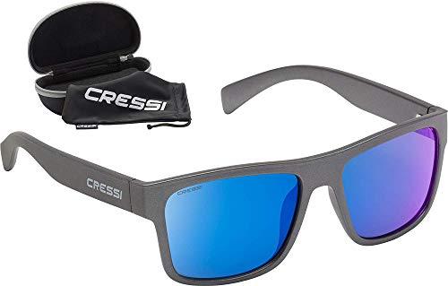 Cressi Spike Sunglasses, Occhiali Sportivi da Sole Unisex Adulto, Grigio/Lenti Specchiate Blu, Unica