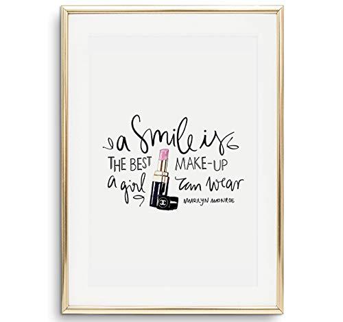 Tales by Jen Kunstdruck, Sprüche Poster: A smile is the best make-up a girl can wear | Stilvolles Premium Poster auf hochwertigem Papier | Fashion Wand Bild als Wohnaccessoires | Ohne Bilderrahmen