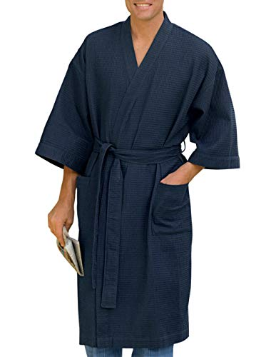 Harbor Bay by DXL Big and Tall Waffle-Knit Kimono Robe, Navy, 1XL/2XL