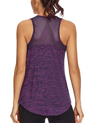 Quccefods Womens Workout Tank Tops Yoga Shirts Mesh Racerback Sports Training Running Tank Tops Gym Workout Clothes Dark Purple