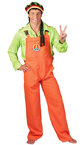 Das Kostümland Latzhose für Erwachsene - Neon Orange Gr. L