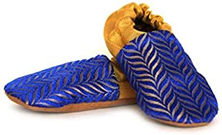 SKIPS Premium & Comfortable Baby Booties Shoes - Unisex - Non Skid Sole - Handcrafted - Ethnic - Blue and Gold
