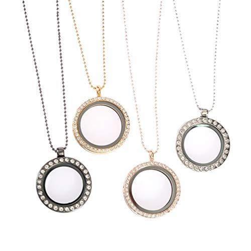EXCEART 4 Piezas de Marco de Fotos Collar de Aleación de Cristal Personalizado con Incrustaciones de Piel Redonda Collar de La Imagen para Las Mujeres Hombres Joyería (Oro Plata)