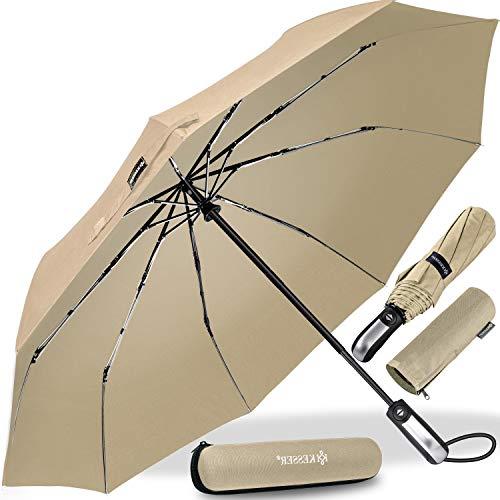 KESSER® Regenschirm Taschenschirm mit Auf-Zu-Automatik - inkl. Schirm-Tasche & Reise-Etui - sturmfest bis 150 km/h - klein - leicht & kompakt - Teflon-Beschichtung - stabil Damen & Herren Beige