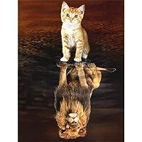 クロスステッチ 大人のためのクロスステッチキット 子猫の反射 40x50cm 11CT番号別刺繍キット手作りキットパンチ針刺繍DIY初心者向け手作りスターターキット