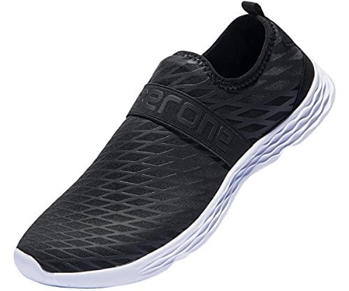 Hombres Zapatos de Agua Descalzos Calzado Deportivo de Secado rápido Sandalias Ligeras y duraderas para Caminar en la Piscina de Playa Arena Nadar Surf Yoga Ejercicio acuático Negro Blanco 44 EU