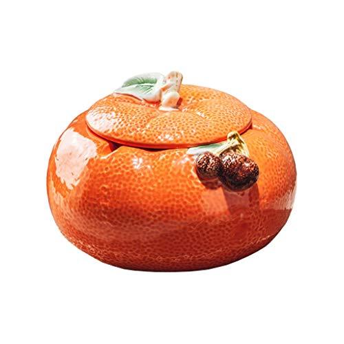 jbshop Ceniceros Cenicero de cerámica Naranja con Tapa de Tapa de Mesa de café Decoración de Escritorio de Oficina imitación cenicero Naranja 5.11 Pulgadas Ceniceros portátiles