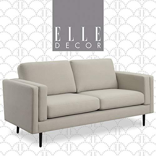 Elle Decor Simone Living Room Sofa Couch, Mid-Century Modern Velvet Fabric Loveseat for Small Space, 73', Cream