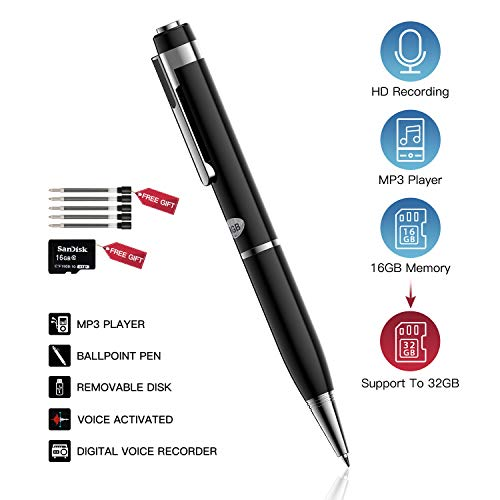 Digital Voice Activated Recorder,ATYIME Portable 16GB Voice Mini Recorders,HD Audio Recording Device with Playback,USB,MP3 for Meeting/Classes/Lectures/Speech/Interviews