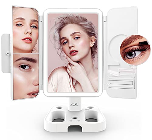 Makeup Mirror Vanity Mirror with Lights, Susisal 3 Color Lighting Trifold Adjustable Mirror with 72LEDs, 1X 2X 3X 10X Magnification, Dual Power Supply, Portable Lighted Up Mirror