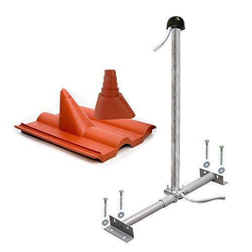 PremiumX Basic Dachsparrenhalter-Montageset 100cm Mast Sparrenhalter für Satellitenschüssel Satelliten-Antenne   SAT Montagezubehör