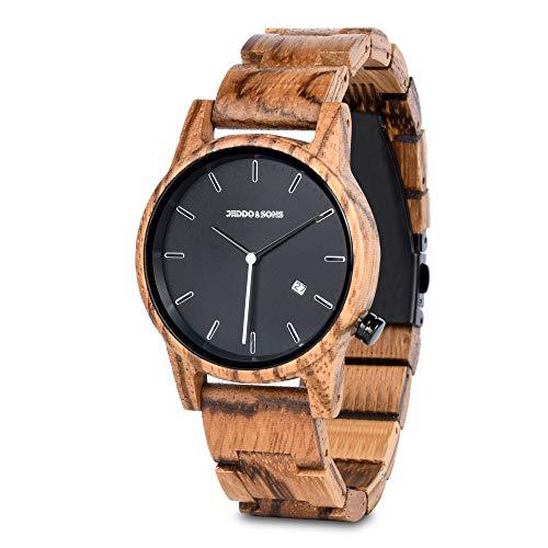 Jeddo & Sons Holzuhr für Herren und Damen, Uhr mit Holzarmband, handgefertigt mit natürlichem Zebranoholz, originelle und umweltfreundliche Armbanduhr