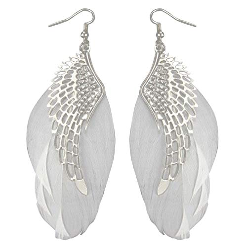Ruby569y Pendientes colgantes para mujer y niña, diseño de alas de ángel, con forma de pluma, para regalo de joyería