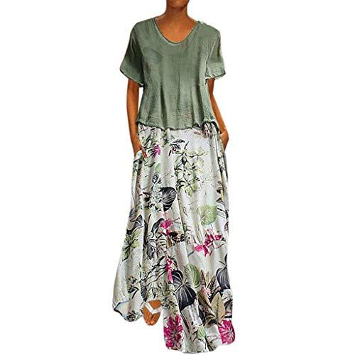 Damen Lange Kleider Sommerkleid Leinenkleid Mode Tops Vintage Print Patchwork Oansatz Zwei Stücke Plus Größe Taschen Maxi Dress Einfarbig Bluse Grün XXL