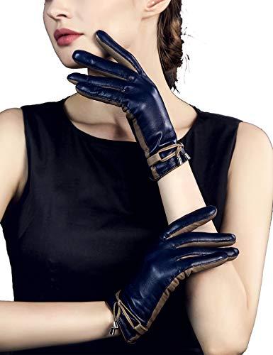 YISEVEN Femme Hiver Gant en cuir peau de mouton écran tactile chaud double élégante nœud agneau veritable souple de travail conduite sac cadeau,Bleu Marin L