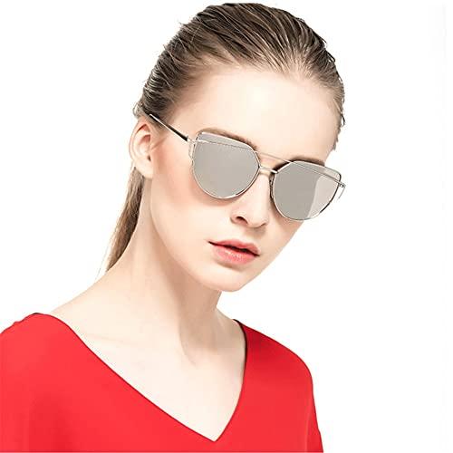 Secuos Moda Diseñador De La Marca Gafas De Sol De Ojo De Gato para Mujer Gafas Reflectantes De Metal Vintage para Mujer Espejo Retro C5-Gold-Blue