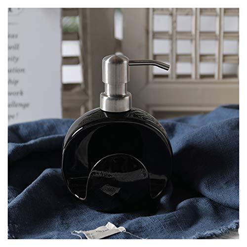 WPBOY Dispensador de jabón de cerámica con soporte de esponja, 400 ml, dispensador de jabón para platos de 13 onzas