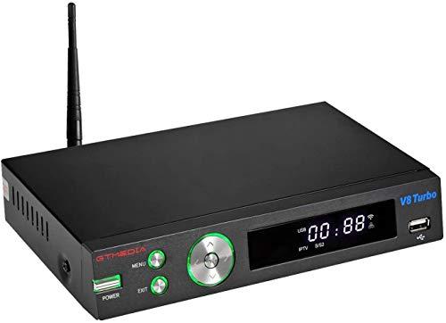 [2020 Newest] Vlogdeals GTMEDIA V8 Turbo FTA Digital Satellite TV Receiver DVB H.265 Full HD 1080P Support PowerVu Biss Key Built-in WiFi V8Pro2 Upgraded (New Generation V8 pro2)