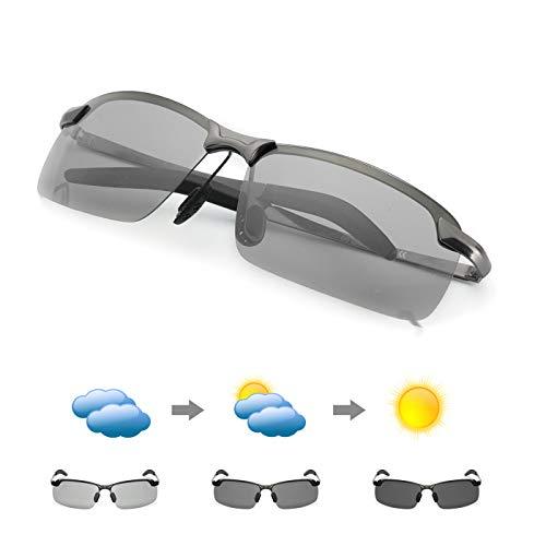MuJaJa Occhiali da Sole Polarizzati Fotocromatici Uomo HD Sportivi Polarizzati Ciclismo Occhiali Protezione 100% UVA UVB (Fucile)