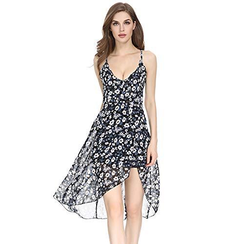 Longra mini-jurk voor de zomer, dames, bedrukt, modieus, sexy, zonder rug, zonder mouwen, avondjurk