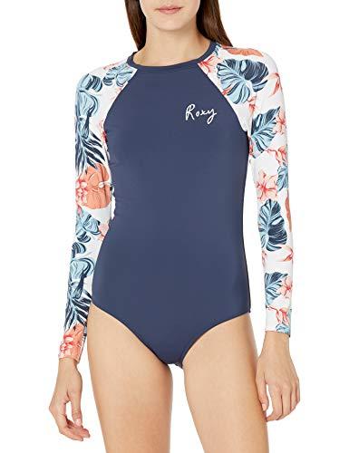 Roxy Junior's Long Sleeve Onesie Rashguard Swimsuit, Bright White Standard Sample, X-Large