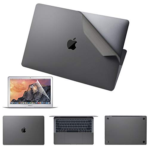macbook covers VFENG Premium 6-in-1 Full Body Skin Decals and Screen Protector for MacBook Pro 15 inch with Touch Bar(A1707/A1990, 2016/2017/2018/2019+), 3M Full Cover Protector Vinyl Skins-Gray