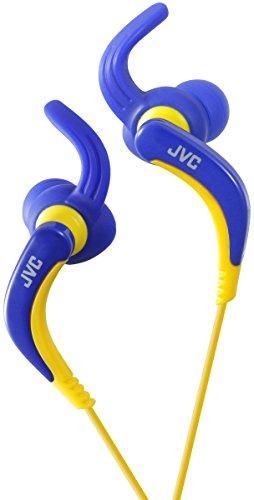 JVC HA-ETX30-A-E - Auriculares deportivos (resistentes al agua, controlador de llamada, micrófono, 20-20000 Hz, cable de 1 m, imán de neodimio), color azul y amarillo