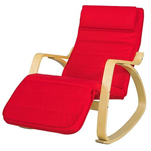 SoBuy Poltrona dondolo, poltrona oscillante, poltrona riposo, sedia relax, poltrona dondolo,Rosso FST16-R