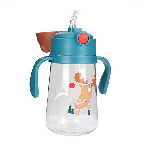 UKKD Botella para beber Biberón, A Prueba De Fugas Infantiles Con Pajitas, Taza De Bebida Para Niños Pequeños Con Mango, Botella De Agua