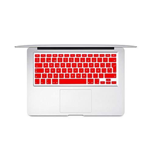 Spanish Chile EU Keyboard Protector Cover For Mac Book Air13 pro15 Retina A1466 A1502 A1398 A1278 Skin Colorful keyboard film-Red-