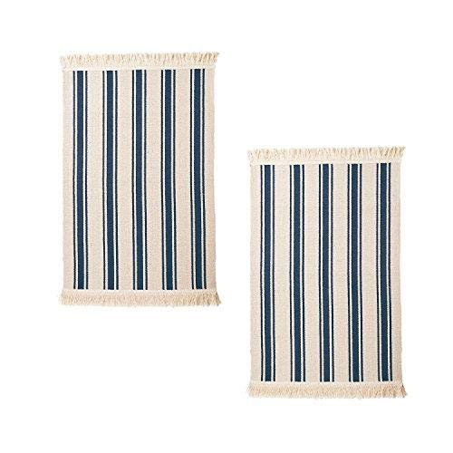 IKEA SIGNE Cotton Area Rug Runner Farm House Throw with Color Stripes, Machine Washable for Kitchen Floor Dorm Living Room, Entry Way Decor (2, Blue Stripe)