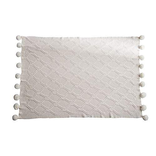 Coperta del Divano Peluche della coperta del tiro lussuosa copertura della coperta Lounge bella maglia con pompon a mano for divano-letto divano del salotto Accogliente Microfibra Peluche