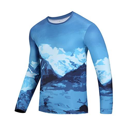 Redbear Sports Haut de course à pied à manches longues pour femme Imprimé Mountain Range Polyester Hexa Cool Wicking, s