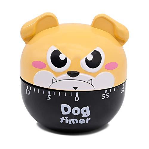 Dolovemk Cute Kitchen Timer, 60 Minuten mechanisch drehbare Timer zum Kochen, Retro Kitchen Timer mit lautem Alarm (Hund)