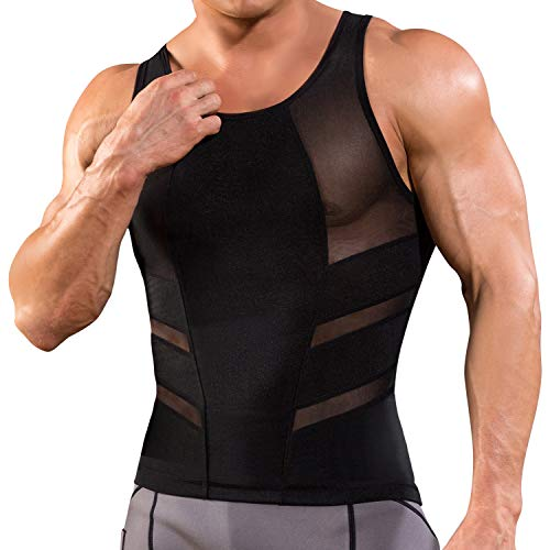 Junlan Debardeur Gainant Homme Ventre Plat Gaine Amincissante Abdo Minceur Shirt Compression Forte (Black, 4XL)