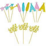 Joymee 24Pcs Wild One Cupcake Toppers Arrow Feather Teepee Cupcake Toppers for Wild One Party Boho Party Tribal Party Decorations Supplies (Wild One Cupcake Toppers)