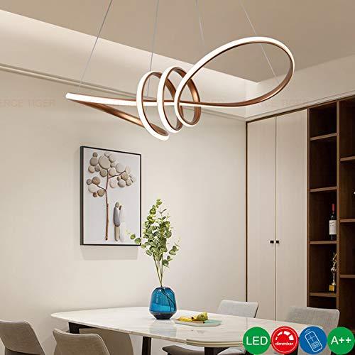 LED Pendelleuchte Dimmbar Esstisch Kronleuchter Stahlseil Hoehenverstellbar Wohnzimmer Küche-lampe Modern Metall Esszimmerlampen Kreativ Spirale Design Deckenleuchte Schlafzimmer Hängeleuchte, Brown