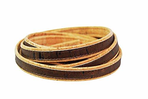 Korkschnur flach – 10mm Naturkorkfarben und Braun - DIY basteln – Schmuck-Herstellung – ideal zum Nähen mit Kork – vegane Alternative zu Leder – Kork Band – Deko Schnur (dunkel) - 1 Meter lang