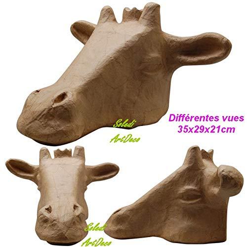Vaessen creatieve giraffe trofee van papier-maché, kop met kleine kroon, 35 x 29 x 21 cm, om op te hangen en te personaliseren