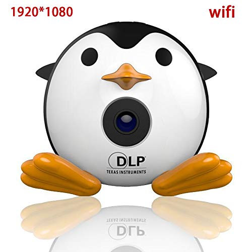 ZWMM Mini Beamer,Projector Hd,Mini Projektor USB,Dlp-Projektor UnterstüTzt Tragbaren 1080p-Full-Hd-Videoprojektor Eingebauter Akku Stereo-Lautsprecher-Led FüR Familien Und Reisen